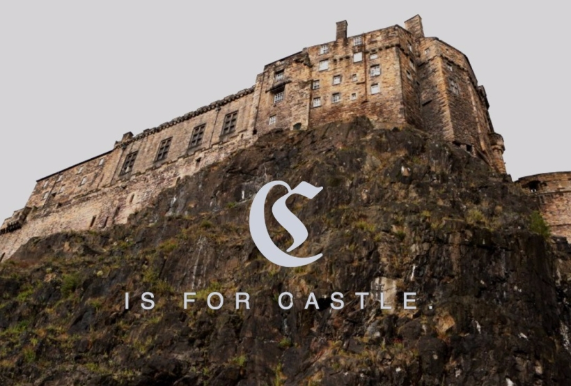 "Castle on a cliff with caption ""C is for Castle."""